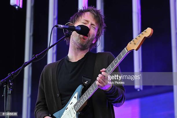 Musician Thom Yorke of Radiohead performs at Malahide Castle on June 7 2008 in Dublin Ireland