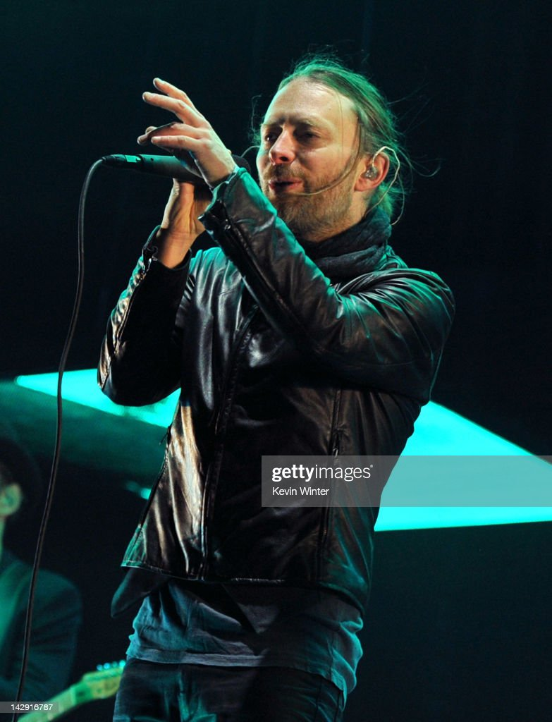 Musician Thom Yorke of Radiohead performs onstage during day 2 of the 2012 Coachella Valley Music & Arts Festival at the Empire Polo Field on April 14, 2012 in Indio, California.