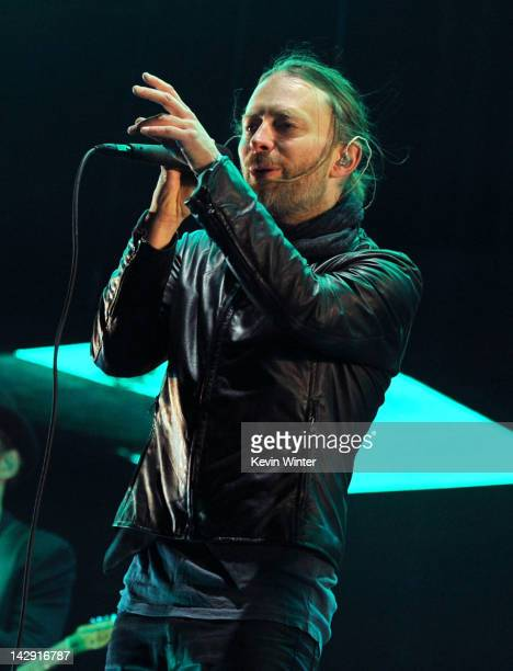 Musician Thom Yorke of Radiohead performs onstage during day 2 of the 2012 Coachella Valley Music Arts Festival at the Empire Polo Field on April 14...