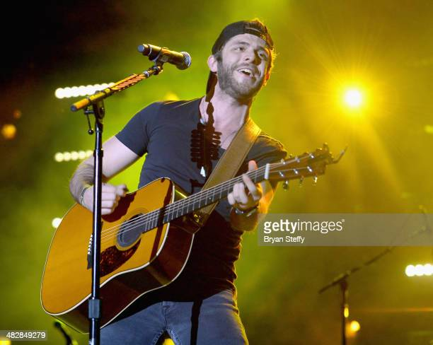 Musician Thomas Rhett performs to an enthusiastic crowd at the second annual Outnumber Hunger Live at The LINQ in Las Vegas on Friday April 4 live...