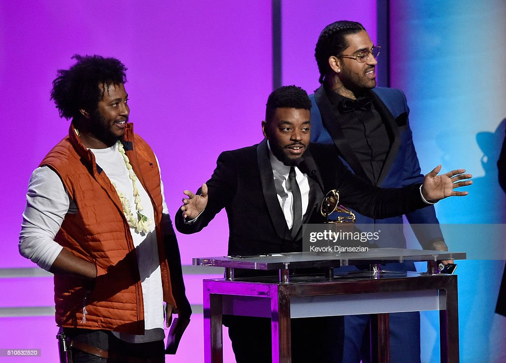 Musician Thundercat (L) ___, and ___onstage during the GRAMMY Pre-Telecast at The 58th GRAMMY Awards at Microsoft Theater on February 15, 2016 in Los Angeles, California.