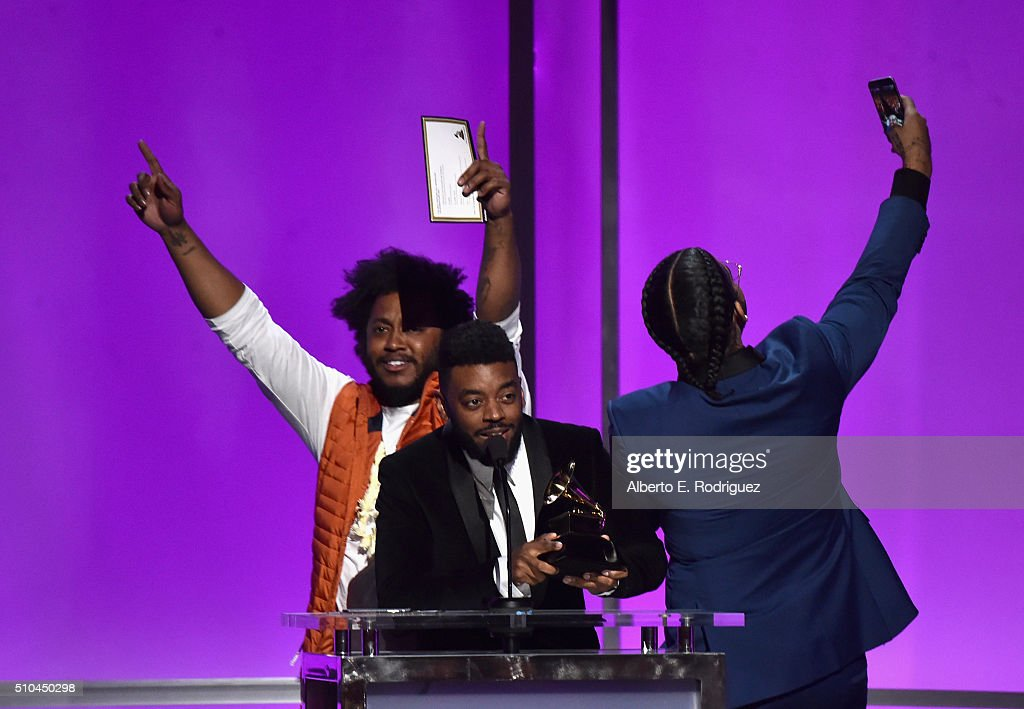 Musician Thundercat and Producer Sounwave accept award for Best Rap/Sung Collaboration at the GRAMMY Pre-Telecast at The 58th GRAMMY Awards at Microsoft Theater on February 15, 2016 in Los Angeles, California.