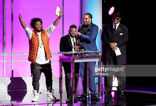 Musician Thundercat and Producer Sounwave accept the award for Best Rap/Sung Collaboration alongside record producer Jimmy Jam onstage during The...