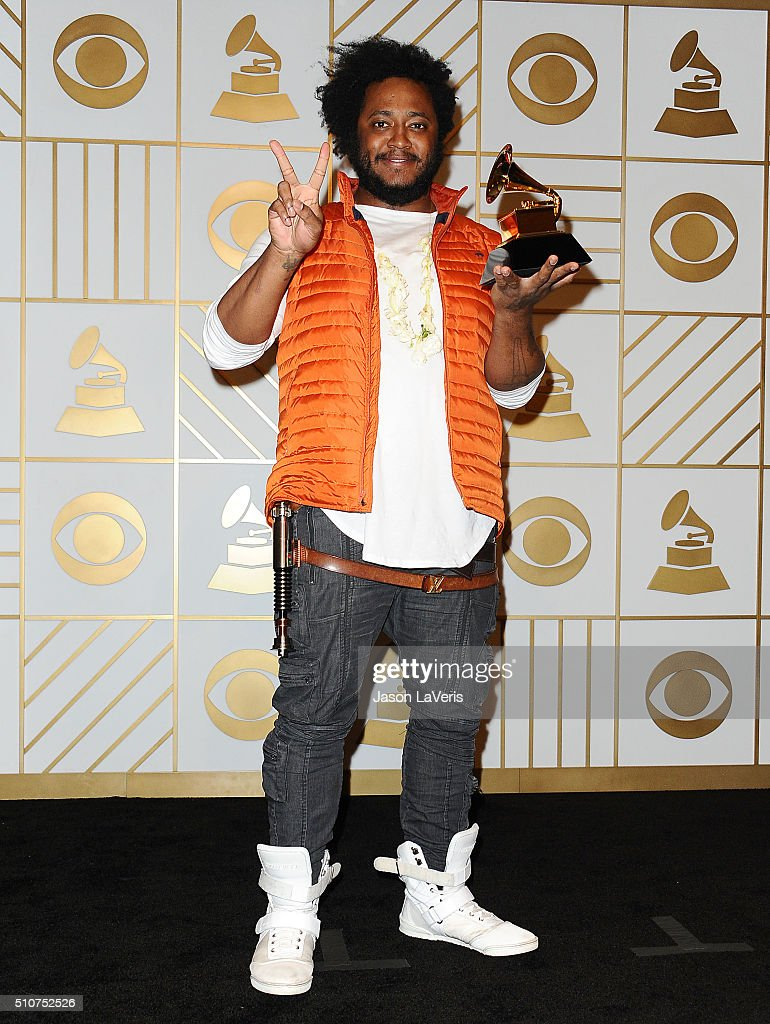 Musician Thundercat poses in the press room at the The 58th GRAMMY Awards at Staples Center on February 15, 2016 in Los Angeles, California.