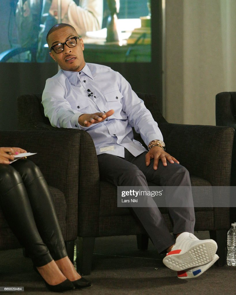 Musician T.I. addresses the audience during the BET Music Presents: Us Or Else panel discussion at the Viacom White Box Hall on April 6, 2017 in New York City.