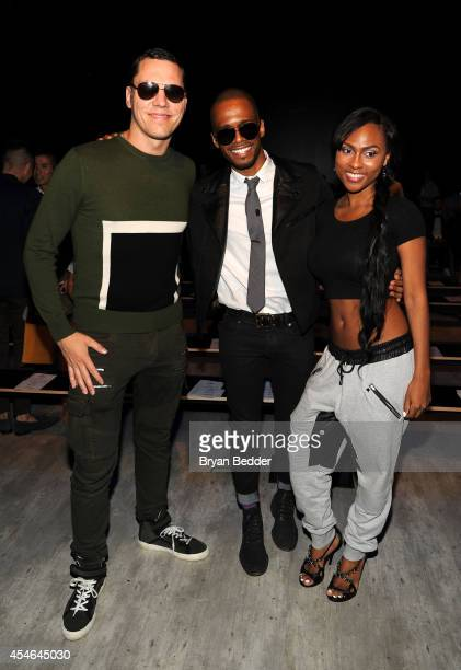 Musician Tiesto actor Eric West and actress Tashiana Washington attend the Todd Snyder fashion show during MercedesBenz Fashion Week Spring 2015 at...