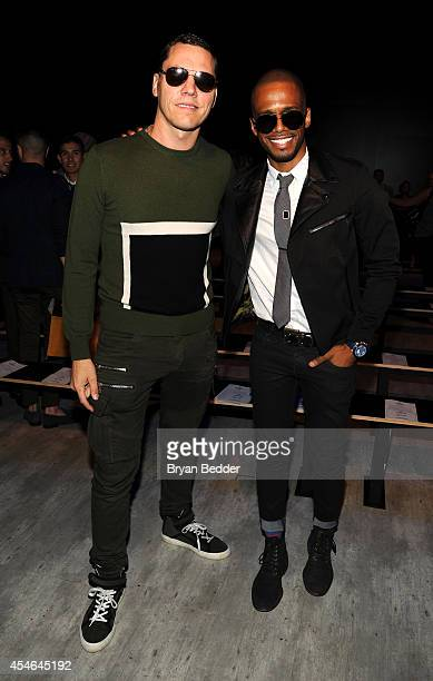 Musician Tiesto and actor Eric West attend the Todd Snyder fashion show during MercedesBenz Fashion Week Spring 2015 at The Pavilion at Lincoln...