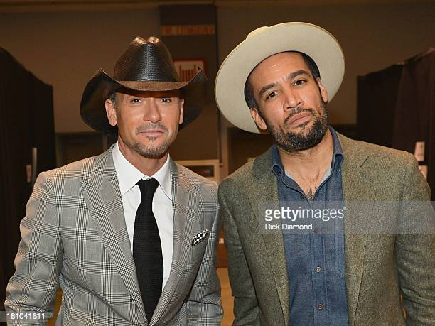 Musician Tim McGraw and Ben Harper attend MusiCares Person Of The Year Honoring Bruce Springsteen at the Los Angeles Convention Center on February 8,...