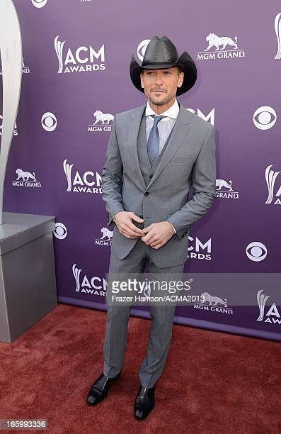 Musician Tim McGraw attends the 48th Annual Academy of Country Music Awards at the MGM Grand Garden Arena on April 7 2013 in Las Vegas Nevada