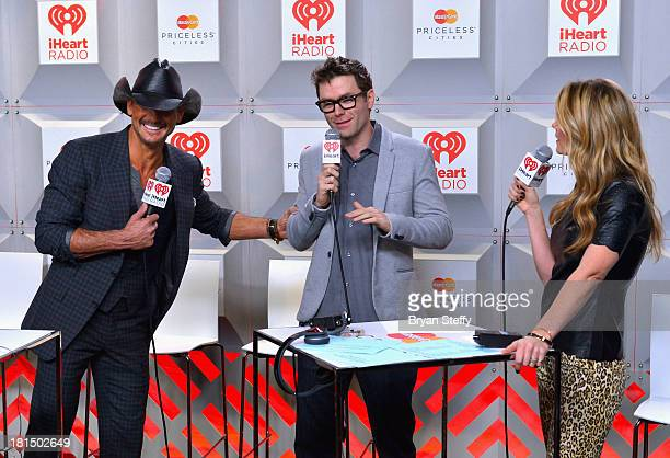 TV Musician Tim McGraw Bobby Bones and Amy Brown attend the iHeartRadio Music Festival at the MGM Grand Garden Arena on September 21 2013 in Las...