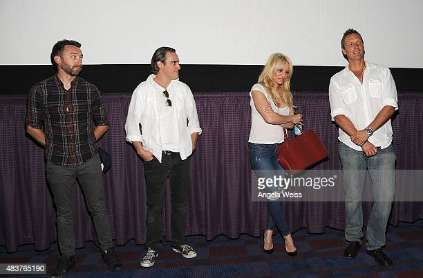 Musician Tim McIlrath actors Joaquin Phoenix Pamela Anderson and director Shaun Monson attend the screening of Unity directed by Shaun Monson at...