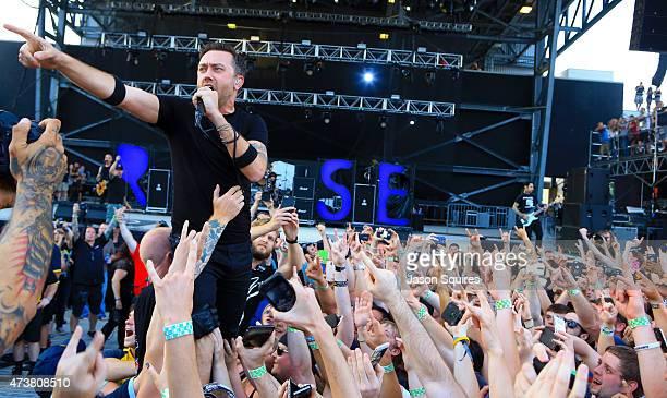 Musician Tim McIlrath of Rise Against performs at MAPFRE Stadium on May 17 2015 in Columbus Ohio