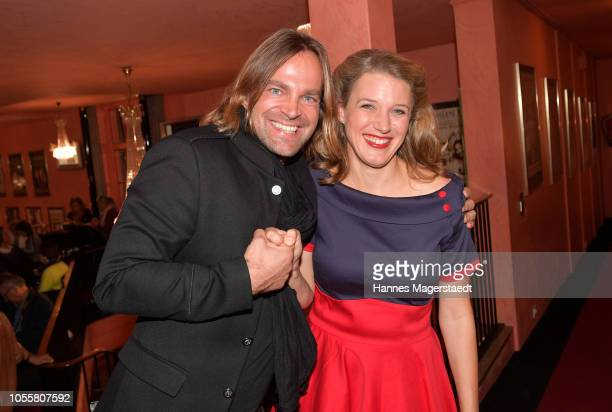 Musician Tim Wilhelm and actress Eva-Maria Grein von Friedl attends the premiere of the theatre play 'Arthur & Claire' at Komoedie im Bayerischen Hof...