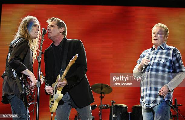 Musician Timothy B Schmit Musician Glenn Frey and Musician Don Henley of the Eagles perform during day 1 of Stagecoach California's Country Music...