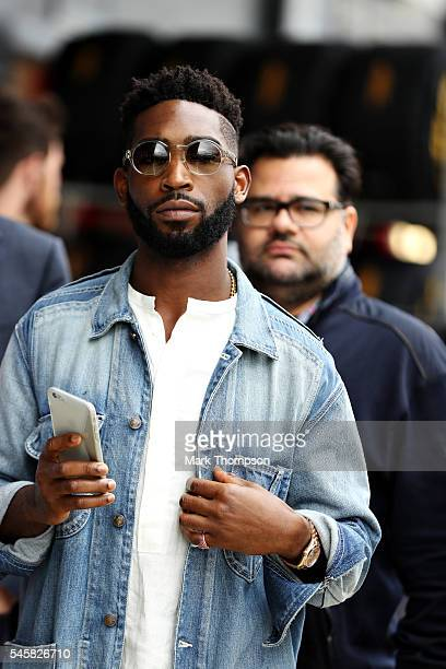Musician Tinie Tempah in the Paddock during the Formula One Grand Prix of Great Britain at Silverstone on July 10 2016 in Northampton England