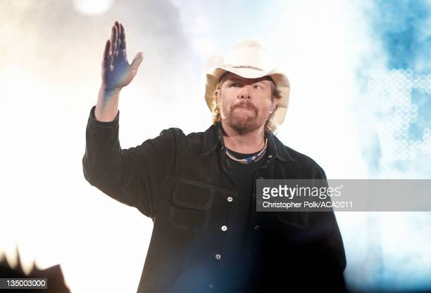 Musician Toby Keith accepts the Artist of the Decade Award onstage at the American Country Awards 2011 at the MGM Grand Garden Arena on December 5...
