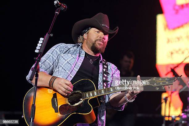 Musician Toby Keith performs during day 2 of Stagecoach California's Country Music Festival 2010 held at The Empire Polo Club on April 25 2010 in...