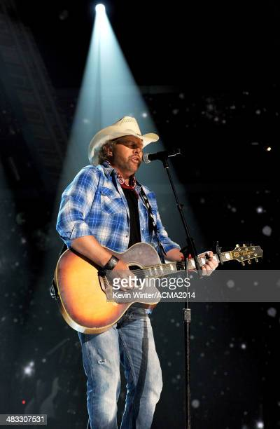 Musician Toby Keith performs onstage during ACM Presents An AllStar Salute To The Troops at the MGM Grand Garden Arena on April 7 2014 in Las Vegas...