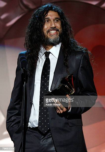 Musician Tom Araya from the band Slayer accepts the Best Metal Performance award onstage during the 50th annual Grammy awards pretelecast show held...
