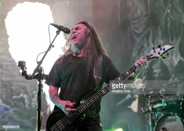 Musician Tom Araya of band Slayer performs on stage during their final world tour at Pacific Coliseum on May 16 2018 in Vancouver Canada