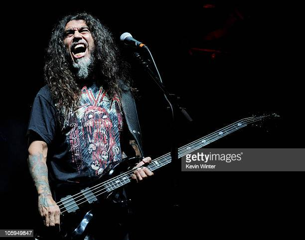 Musician Tom Araya of Slayer performs at the Gibson Amphitheatre on October 21 2010 in Universal City California