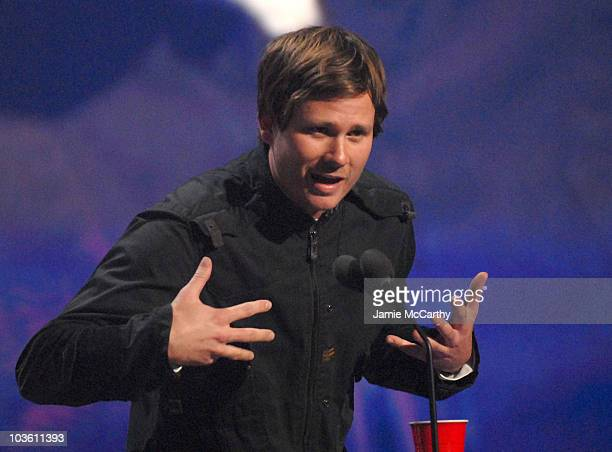 Musician Tom Delonge of Angels and Airwaves on stage during the 2007 mtvU Woodie Awards at the Roseland Ballroom on November 8 2007 in New York City