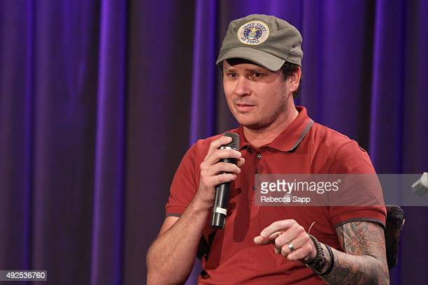 Musician Tom DeLonge speaks onstage at A Conversation With Tom DeLonge at The GRAMMY Museum on October 13 2015 in Los Angeles California