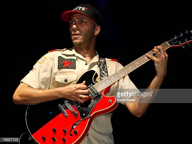 Musician Tom Morello from the band Rage Against the Machine performs during day 3 of the Coachella Music Festival held at the Empire Polo Field on...