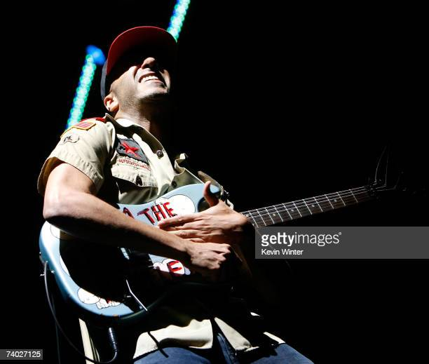"""Musician Tom Morello from the band """"Rage Against the Machine"""" performs during day 3 of the Coachella Music Festival held at the Empire Polo Field on..."""