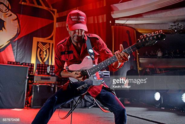 Musician Tom Morello of Prophets of Rage performs onstage at Hollywood Palladium on June 3 2016 in Los Angeles California