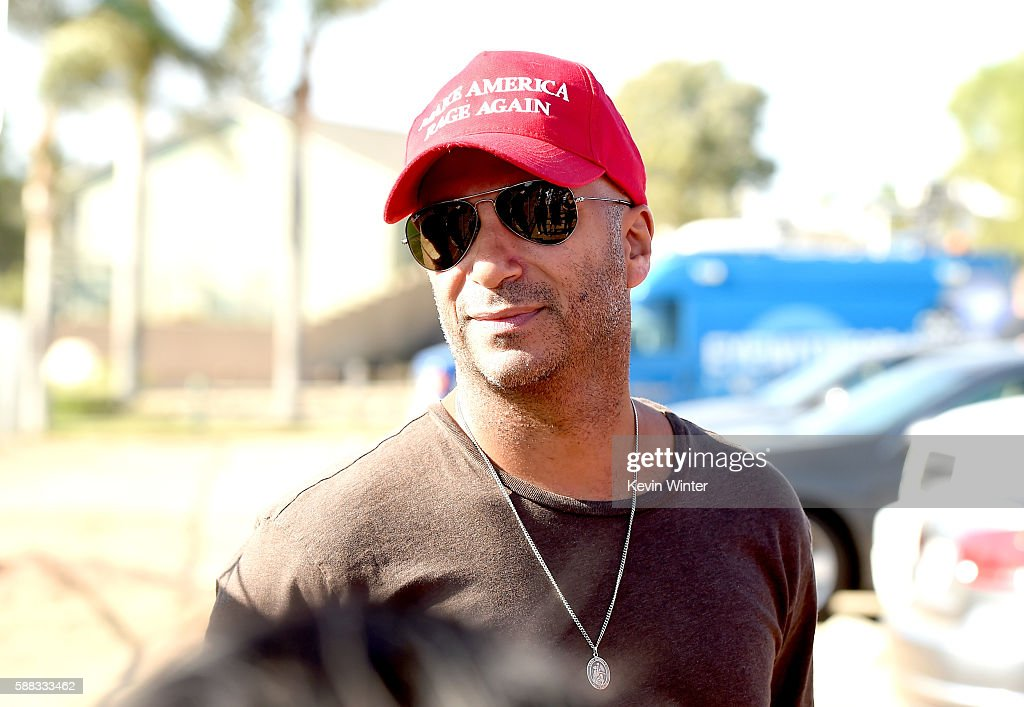 Musician Tom Morello of Prophets of Rage poses outside of the California Rehabilitation Center on August 10, 2016 in Norco, California.