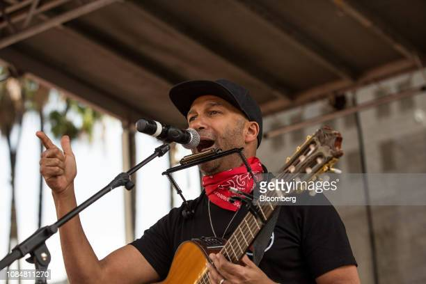 Musician Tom Morello performs during a teachers strike in Los Angeles California US on Friday Jan 18 2019 Teachers in Los Angeles the secondlargest...