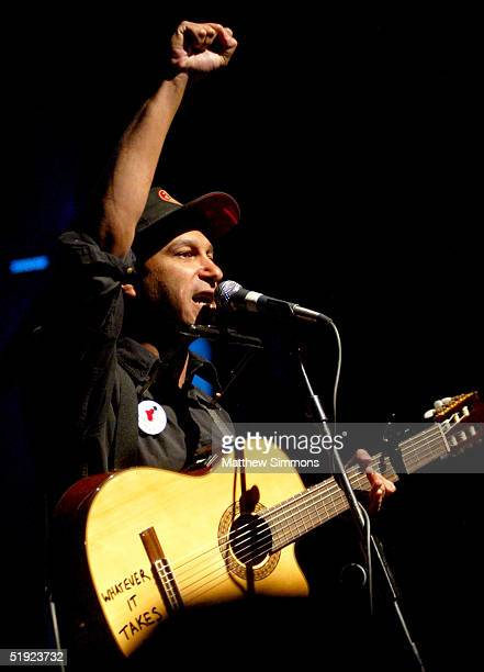 """Musician Tom Morello performs during """"Words and Music in Honor of Fahrenheit 9/11"""" on January 6, 2005 at the House of Blues in West Hollywood,..."""