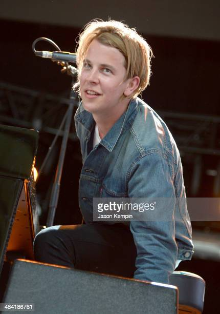 Musician Tom Odell performs onstage during day 1 of the 2014 Coachella Valley Music Arts Festival at the Empire Polo Club on April 11 2014 in Indio...
