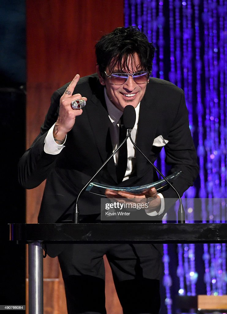 Musician Tommy Lee accepts the Skins award onstage at PETA's 35th Anniversary Party at Hollywood Palladium on September 30, 2015 in Los Angeles, California.