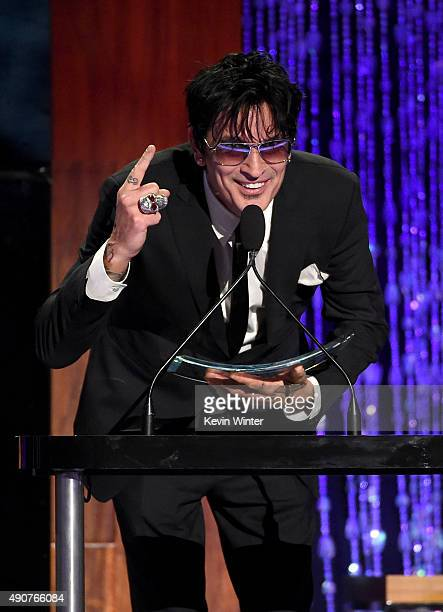 Musician Tommy Lee accepts the Skins award onstage at PETA's 35th Anniversary Party at Hollywood Palladium on September 30 2015 in Los Angeles...