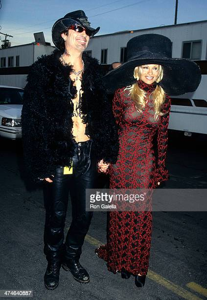 Musician Tommy Lee of Motley Crue and actress Pamela Anderson attend the 24th Annual American Music Awards on January 27 1997 at the Shrine...