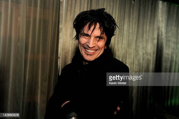 Musician Tommy Lee poses at the after party for the screening of Waiting for Lightning at the Roosevelt Hotel on April 10 2012 in Los Angeles...