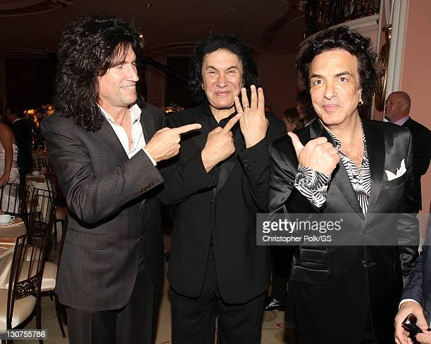 Musician Tommy Thayer Groom Gene Simmons and Groomsman Paul Stanley attend the wedding of Gene Simmons and Shannon Tweed at the Beverly Hills Hotel...