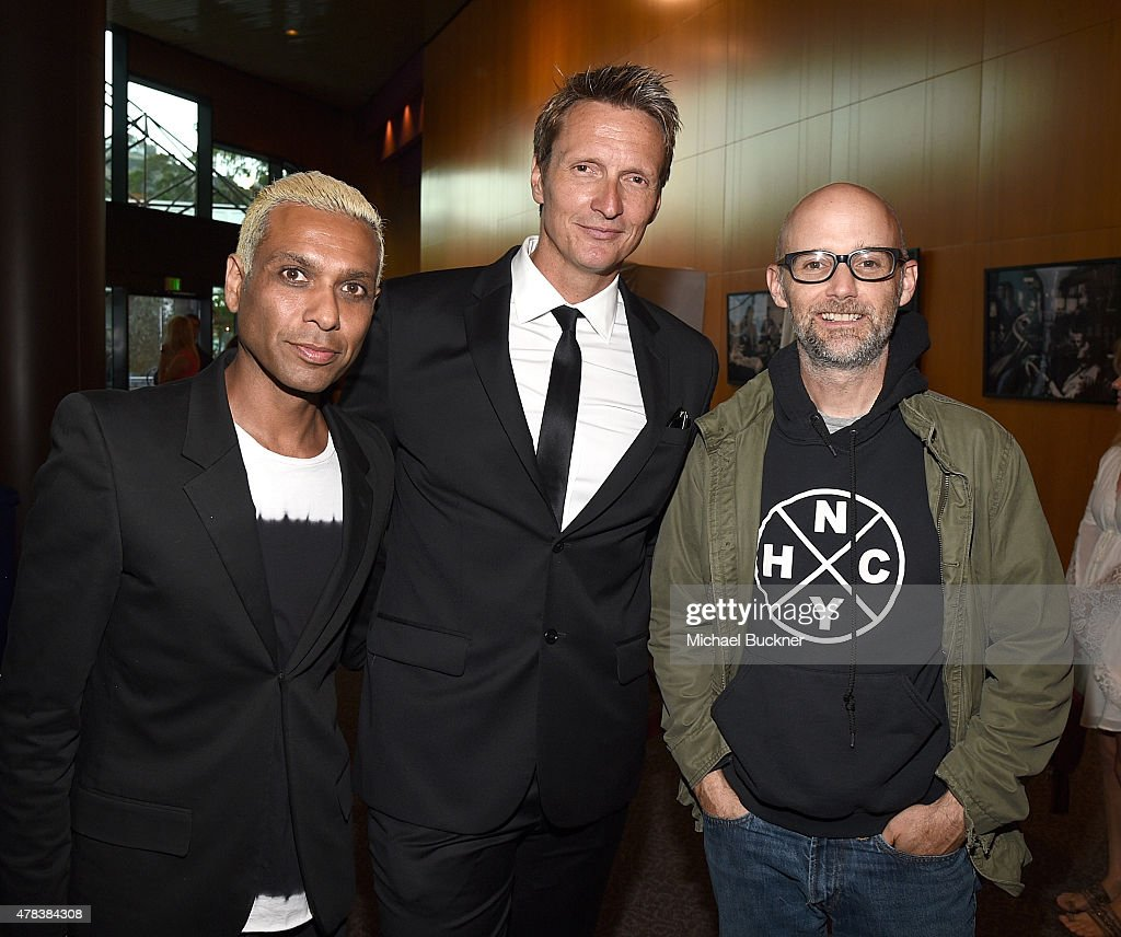 Musician Tony Kanal, director Shaun Monson and musician Moby attend the world premiere of 'UNITY' at the DGA Theater on June 24, 2015 in Los Angeles, California.