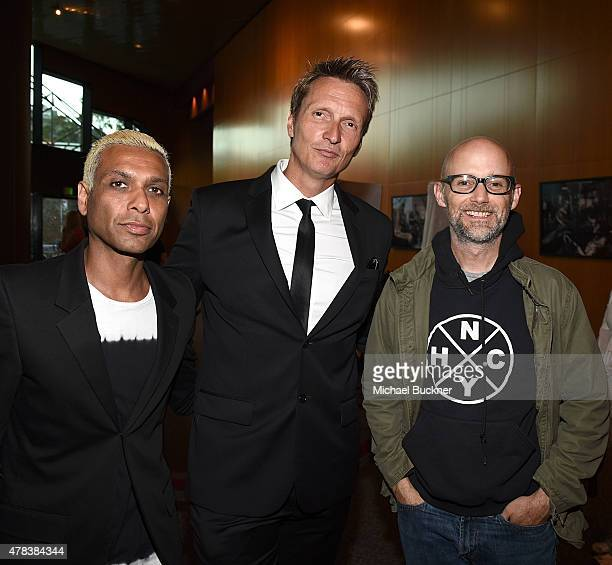 Musician Tony Kanal director Shaun Monson and musician Moby attend the world premiere of UNITY at the DGA Theater on June 24 2015 in Los Angeles...