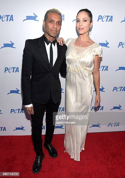 Musician Tony Kanal of No Doubt and actress Erin Lokitz attend PETA's 35th Anniversary Party at Hollywood Palladium on September 30 2015 in Los...
