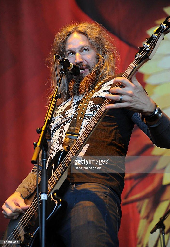 Musician Tory Sanders of Mastodon performs at White River Amphitheater on July 3, 2013 in Auburn, Washington.