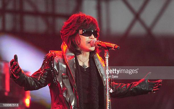 Musician Toshi of X Japan performs live at Nissan Stadium on August 14 2010 in Yokohama Japan