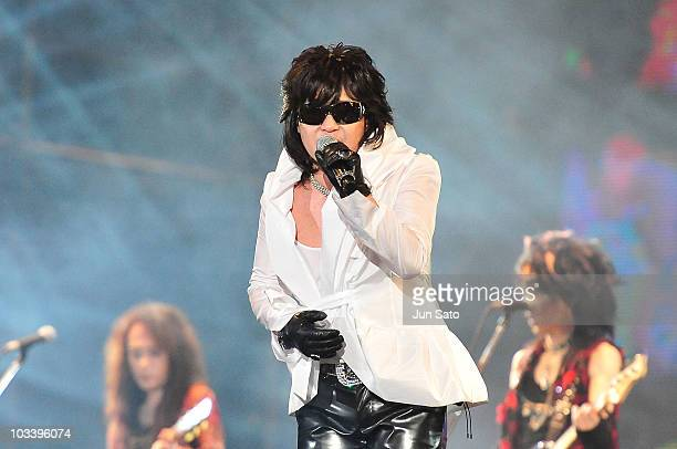 Musician Toshi of X Japan performs live at Nissan Stadium on August 15 2010 in Yokohama Japan