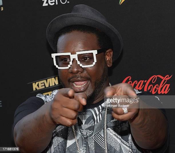Musician TPain arrives at the premiere of Summit Entertainment and Code Black Film's Kevin Hart Let Me Explain at Regal Cinemas LA Live on June 27...