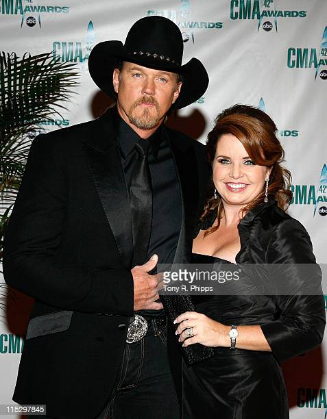 Musician Trace Adkins and wife Rhonda Adkins attend the 42nd Annual CMA Awards at the Sommet Center on November 12 2008 in Nashville Tennessee