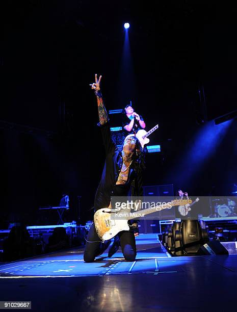 """Musician Trace Cyrus of Metro Station performs before the Miley Cyrus """"Wonder World"""" tour at Staples Center on September 22, 2009 in Los Angeles,..."""