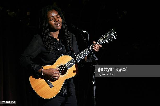 Musician Tracy Chapman performs live onstage at the AmFAR Gala honoring the work of John Demsey and Whoopi Goldberg at Cipriani 42nd Street January...