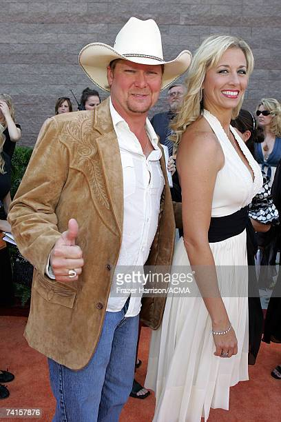 Musician Tracy Lawrence and his wife Becca arrive at the 42nd Annual Academy Of Country Music Awards held at the MGM Grand Garden Arena on May 15...